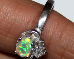 Natural Ethiopian Welo Fire Opal 925 Silver Ring Size (6 US) 141