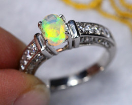 3.41g Ethiopian Welo Faceted Opal 925 Sterling Silver Ring C2204