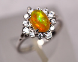 2.85g Ethiopian Chaff Fire Opal 925 Sterling Silver Ring C2212