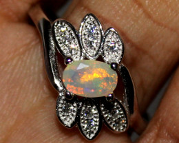 Natural Ethiopian Welo Fire Opal 925 Silver Ring Size (8 US) 136