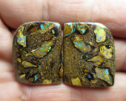"79cts,""BOULDER MATRIX OPAL~GEM PAIR"""