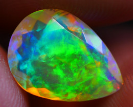 1.85 CRT CRYSTAL CLEAR 3D BROADFLASH FACETED PATTERN PLAY COLOR WELO OPAL