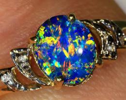 0.8ct 7x6mm Doublet Opal 9K Gold Diamond Ring Size 7.5 [GC-078]