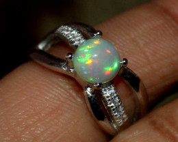 Natural Ethiopian Welo Fire Opal 925 Silver Ring Size (5 US ) 157