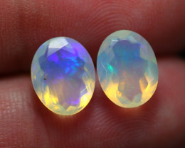 2.86Ct Play Of Color Ethiopian Welo Faceted Opal Pair ~ C2409