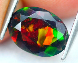 1.01Ct Welo Broad Flash Pattern Ethiopian Welo Smoked Faceted Opal C2414