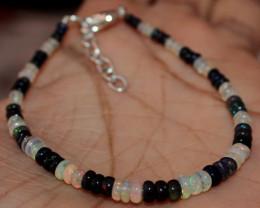 11 Crt Natural Ethiopian Welo Opal & Smoked Opal Beads Bracelet 139
