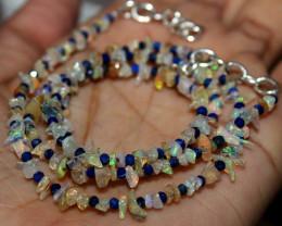 26 Crt Natural Ethiopian Welo Fire Uncut Opal & Lapis Lazuli Beads 12