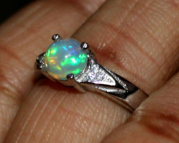 Natural Ethiopian Welo Fire Opal 925 Silver Ring Size (5.5 US ) 160
