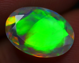 1.60 CRT (CRACK) STUNNING FACETED BROADFLASH PATTERN PLAY COLOR WELO OPAL