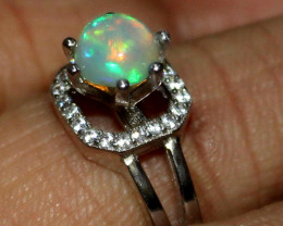 Natural Ethiopian Welo Fire Opal 925 Silver Ring Size (6 US ) 158
