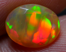 1.45 CRT DARK BASE FACETED RAINBOW MACKEREL PLAY  MULTICOLOR WELO OPAL