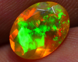 1.05 CRT DARK CRYSTAL FACETED ROLLING FLASH FLORAL PLAY COLOR WELO OPAL