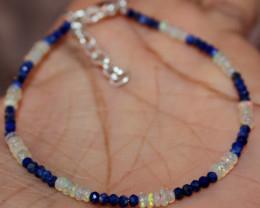 8 Crt Natural Ethiopian Welo Fire Opal & Lapis Lazuli Beads Bracelet 14