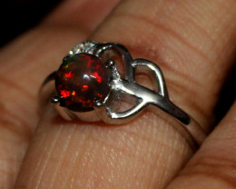 Natural Ethiopian Welo Fire Smoked Opal 925 Silver Ring Size (7 US ) 161