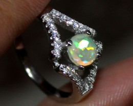 Natural Ethiopian Welo Fire Faceted Opal 925 Silver Ring Size (5 US ) 159