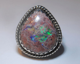Sz9 SOLID CRYSTAL OPAL HIGH QUALITY .925 STERLING FABULOUS RING