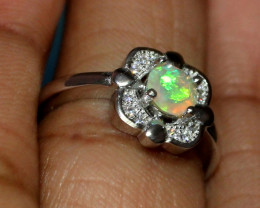 Natural Ethiopian Welo Fire Opal 925 Silver Ring Size (5 US ) 169