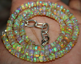 66 Crt Natural Ethiopian Welo Fire Opal Beads Necklace 152