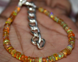 21 Crt Natural Ethiopian Welo Fire Yellow Opal Beads Bracelet 40