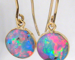 4.9ct 14k Gold Genuine Quality Australian Opal Inlay Earrings Jewelry Gift