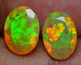 2.95 CRT AMAZING PAIR  FACETED HONEYCOMB PATTERN WELO OPAL