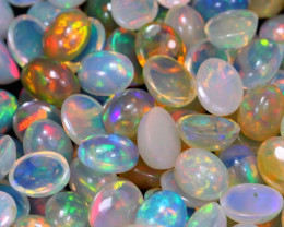60.70Ct 9x7mm 51Pcs Multi Color Ethiopian Welo Opal Parcel Lot D0301