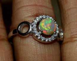 Natural Ethiopian Welo Fire Opal 925 Silver Ring Size (7 US ) 184