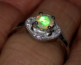 Natural Ethiopian Welo Opal 925 Silver Ring Size (5 US )
