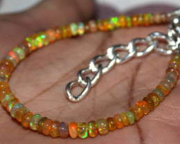 19 Crt Natural Ethiopian Welo Fire Yellow Opal Beads Bracelet 30