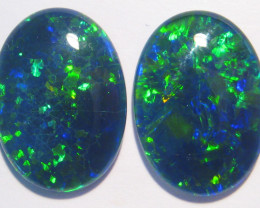 Beautiful pair of Gem Grade Australian Opal Triplets, 18x13mm Blue Green (2
