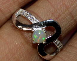 Natural Ethiopian Welo Opal 925 Silver Ring Size (4.5 US ) 176