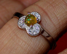 Natural Ethiopian Welo Fire Opal 925 Silver Ring Size (7 US ) 194
