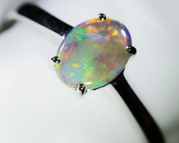 Bright  Black crystal Opal in 10 k white Gold  WS735