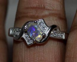 Natural Ethiopian Welo Opal 925 Silver Ring Size (7.5 US ) 152