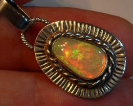 13.74 Fiery Rough Ethiopian Welo Opal Sterling Silver .925 Pendant