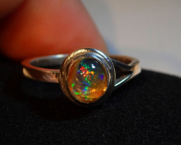 6.25sz RING SOLID MEXICAN OPAL HIGH QUALITY .925 STERLING
