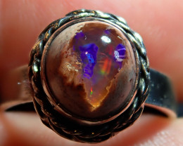 7sz  Mexican Matrix Cantera Multicoloured Fire Opal .925 Sterling Ring