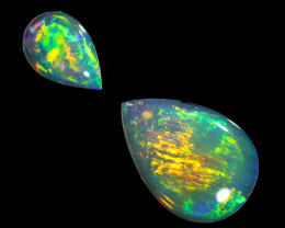 0.69Cts 2pcs Crystal Fire opals Calibrated WS768