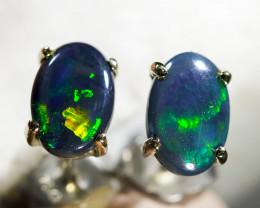 Cute doublet Opal 18k White Gold Earrings WS771