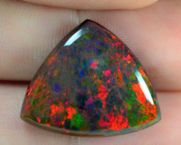 12.87 CTS RARE MULTI COLOR PLAY BLACK OPAL NATURAL GEMSTONE