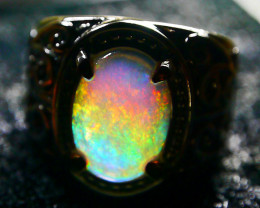 36.65 CT Beautiful Indonesian Contraluz  Crystal Opal Ring Jewelry