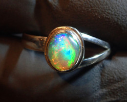 8SZ SOLID  OPAL UNIQUE PATTERN .925 STERLING FABULOUS RING