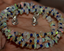 24 Crt Natural Ethiopian Welo Opal Uncut & Lapis Lazuli Beads Necklace