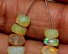 6.80 Crt Natural Ethiopian Welo Fire Faceted Opal Beads Demi Strand 2