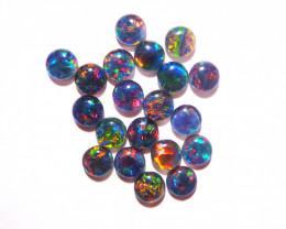 20 Australian Opal Triplets Gem Grade 6mm rounds Brilliant multicolours (34