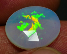 4.60 CRT RARE! FACETED PRISM HONEYCOMB PATTERN PLAY COLOR WELO OPAL*
