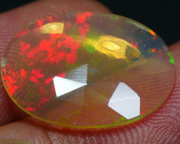 3.00 CRT DARK CRYSTAL FACETED ROLLING FLASH FLOWER PLAY COLOR WELO OPAL*