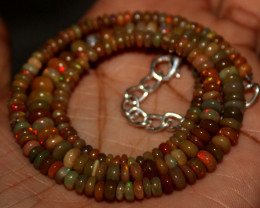 48 Crt Natural Ethiopian Welo Fire Opal Beads Necklace 142
