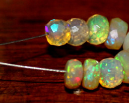 5.80 Crt Natural Ethiopian Welo Fire Faceted Opal Beads Demi Strand 4